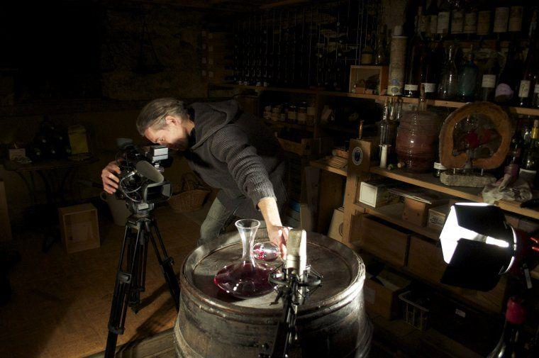 Musician and sound technician Silvère Cheret during the shoots in the Bodin cellar in Haute-Savoie.
