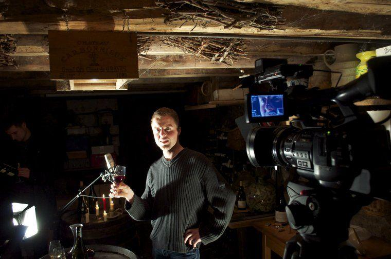 Guillaume Bodin working the tasting glass for a scene shot in his parents' cellar in Haute-Savoie.
