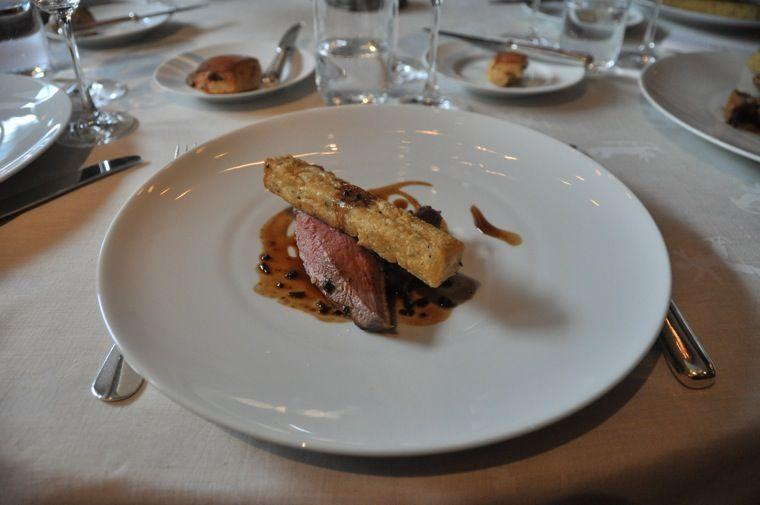 roasted duckling breast, well-done thigh, panisse niçoise, and olives juice